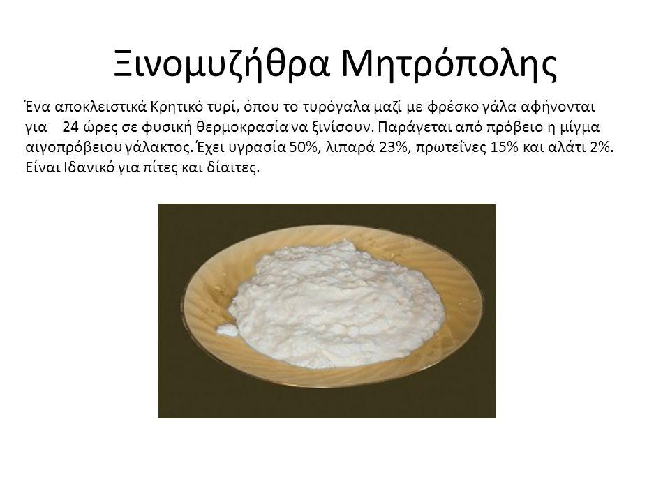 Ξινομυζήθρα Μητρόπολης Ένα αποκλειστικά Κρητικό τυρί, όπου το τυρόγαλα μαζί με φρέσκο γάλα αφήνονται για 24 ώρες σε φυσική θερμοκρασία να ξινίσουν.