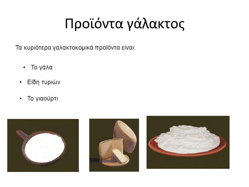 Προϊόντα γάλακτος Τα κυριότερα γαλακτοκομικά προϊόντα είναι: Το γάλα Είδη τυριών Το γιαούρτι
