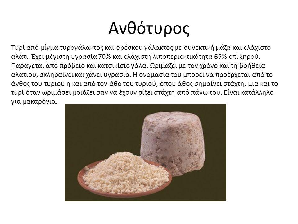 Ανθότυρος Τυρί από μίγμα τυρογάλακτος και φρέσκου γάλακτος με συνεκτική μάζα και ελάχιστο αλάτι.
