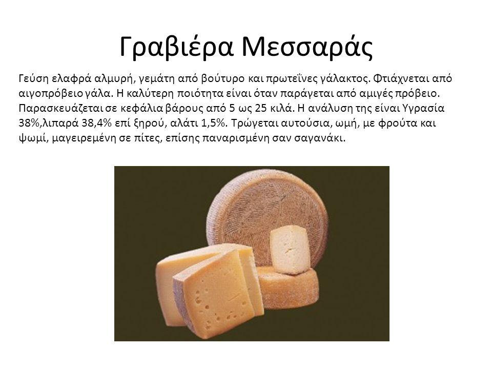 Γραβιέρα Μεσσαράς Γεύση ελαφρά αλμυρή, γεμάτη από βούτυρο και πρωτεΐνες γάλακτος.