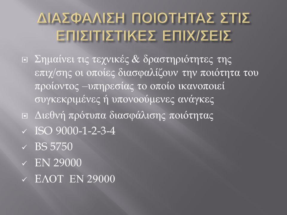  Σημαίνει τις τεχνικές & δραστηριότητες της επιχ / σης οι οποίες διασφαλίζουν την ποιότητα του προίοντος – υπηρεσίας το οποίο ικανοποιεί συγκεκριμένες ή υπονοούμενες ανάγκες  Διεθνή πρότυπα διασφάλισης ποιότητας ISO 9000-1-2-3-4 BS 5750 EN 29000 E ΛΟΤ ΕΝ 29000