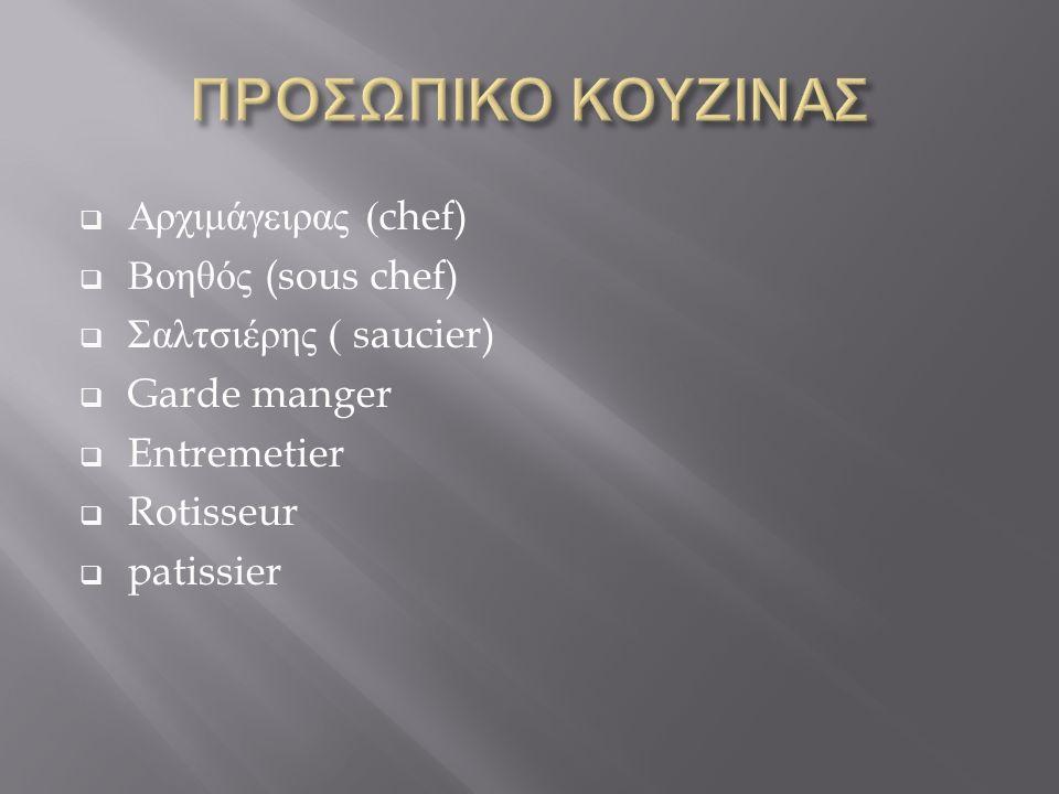  Αρχιμάγειρας (chef)  Βοηθός (sous chef)  Σαλτσιέρης ( saucier)  Garde manger  Entremetier  Rotisseur  patissier