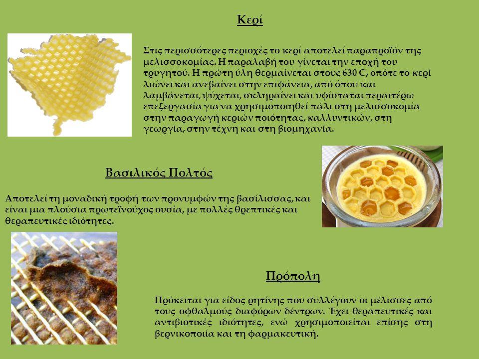 Κερί Στις περισσότερες περιοχές το κερί αποτελεί παραπροϊόν της μελισσοκομίας. Η παραλαβή του γίνεται την εποχή του τρυγητού. Η πρώτη ύλη θερμαίνεται