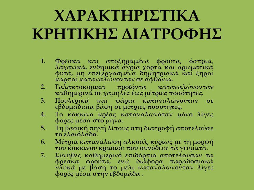 ΧΑΡΑΚΤΗΡΙΣΤΙΚΑ ΚΡΗΤΙΚΗΣ ΔΙΑΤΡΟΦΗΣ 1.Φρέσκα και αποξηραμένα φρούτα, όσπρια, λαχανικά, ενδημικά άγρια χόρτα και αρωματικά φυτά, μη επεξεργασμένα δημητρι