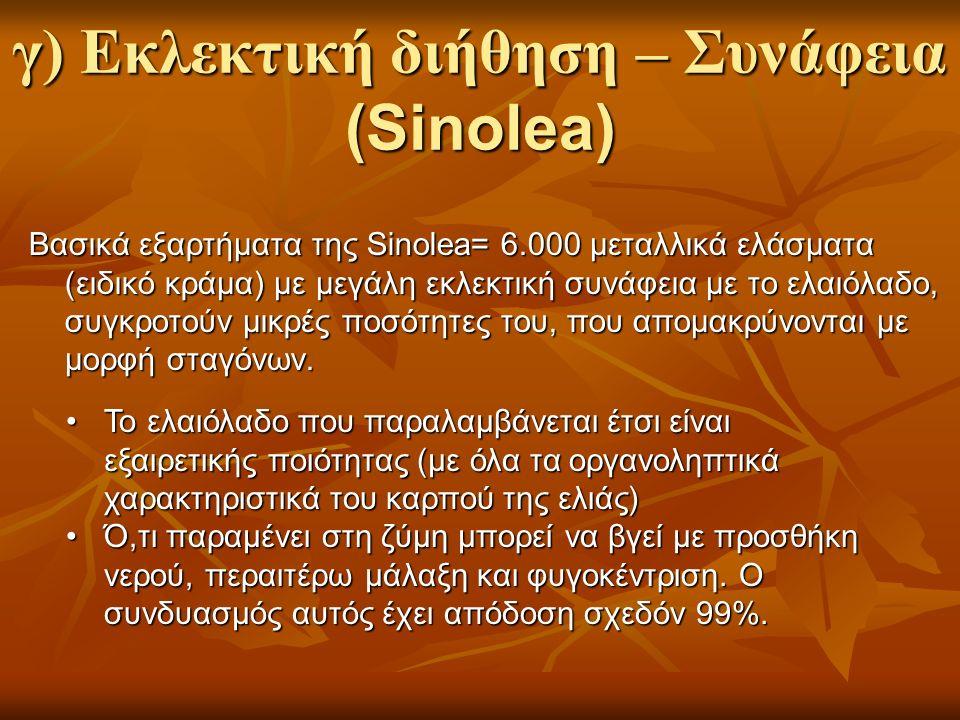 Βασικά εξαρτήματα της Sinolea= 6.000 μεταλλικά ελάσματα (ειδικό κράμα) με μεγάλη εκλεκτική συνάφεια με το ελαιόλαδο, συγκροτούν μικρές ποσότητες του, που απομακρύνονται με μορφή σταγόνων.