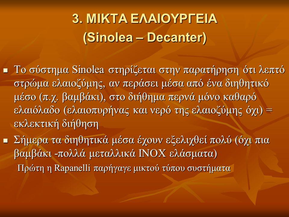 3. ΜΙΚΤΑ ΕΛΑΙΟΥΡΓΕΙΑ (Sinolea – Decanter) Το σύστημα Sinolea στηρίζεται στην παρατήρηση ότι λεπτό στρώμα ελαιοζύμης, αν περάσει μέσα από ένα διηθητικό