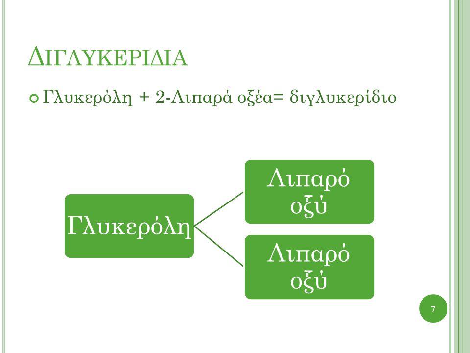 Δ ΙΓΛΥΚΕΡΙΔΙΑ Γλυκερόλη + 2-Λιπαρά οξέα= διγλυκερίδιο 7 Γλυκερόλη Λιπαρό οξύ