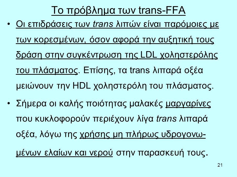 21 Το πρόβλημα των trans-FFA Οι επιδράσεις των trans λιπών είναι παρόμοιες με των κορεσμένων, όσον αφορά την αυξητική τους δράση στην συγκέντρωση της LDL χοληστερόλης του πλάσματος.