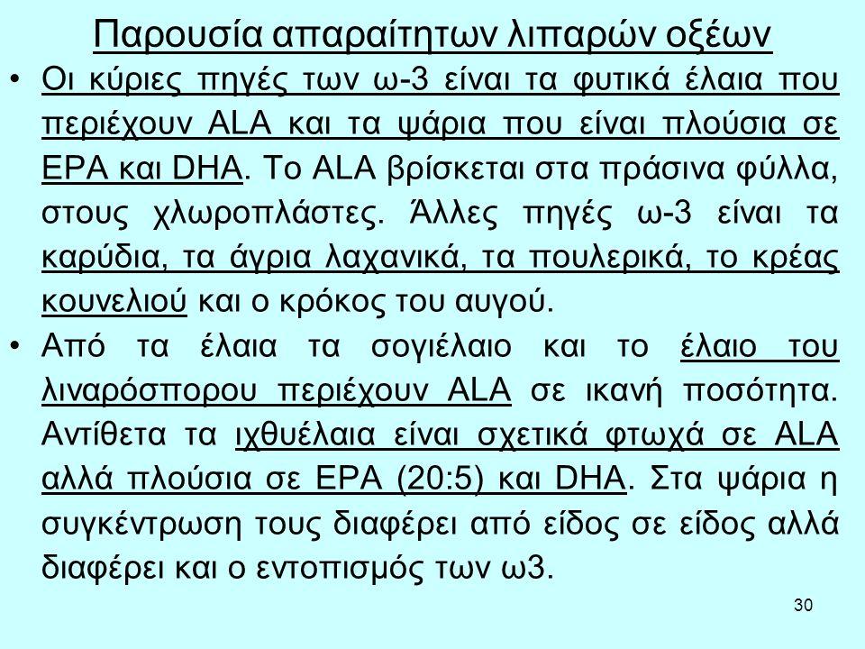 30 Παρουσία απαραίτητων λιπαρών οξέων Οι κύριες πηγές των ω-3 είναι τα φυτικά έλαια που περιέχουν ALA και τα ψάρια που είναι πλούσια σε EPA και DHA.