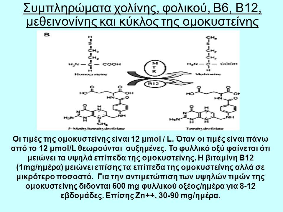 Συμπληρώματα χολίνης, φολικού, Β6, Β12, μεθεινονίνης και κύκλος της ομοκυστείνης Οι τιμές της ομοκυστείνης είναι 12 μmol / L.