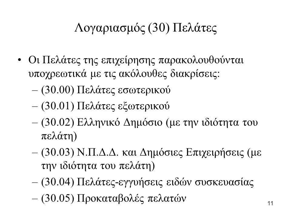 11 Λογαριασμός (30) Πελάτες Οι Πελάτες της επιχείρησης παρακολουθούνται υποχρεωτικά με τις ακόλουθες διακρίσεις: –(30.00) Πελάτες εσωτερικού –(30.01) Πελάτες εξωτερικού –(30.02) Ελληνικό Δημόσιο (με την ιδιότητα του πελάτη) –(30.03) Ν.Π.Δ.Δ.