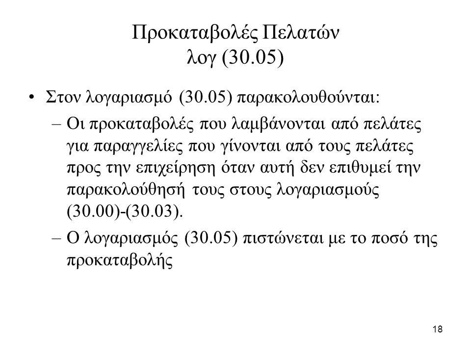 18 Προκαταβολές Πελατών λογ (30.05) Στον λογαριασμό (30.05) παρακολουθούνται: –Οι προκαταβολές που λαμβάνονται από πελάτες για παραγγελίες που γίνονται από τους πελάτες προς την επιχείρηση όταν αυτή δεν επιθυμεί την παρακολούθησή τους στους λογαριασμούς (30.00)-(30.03).