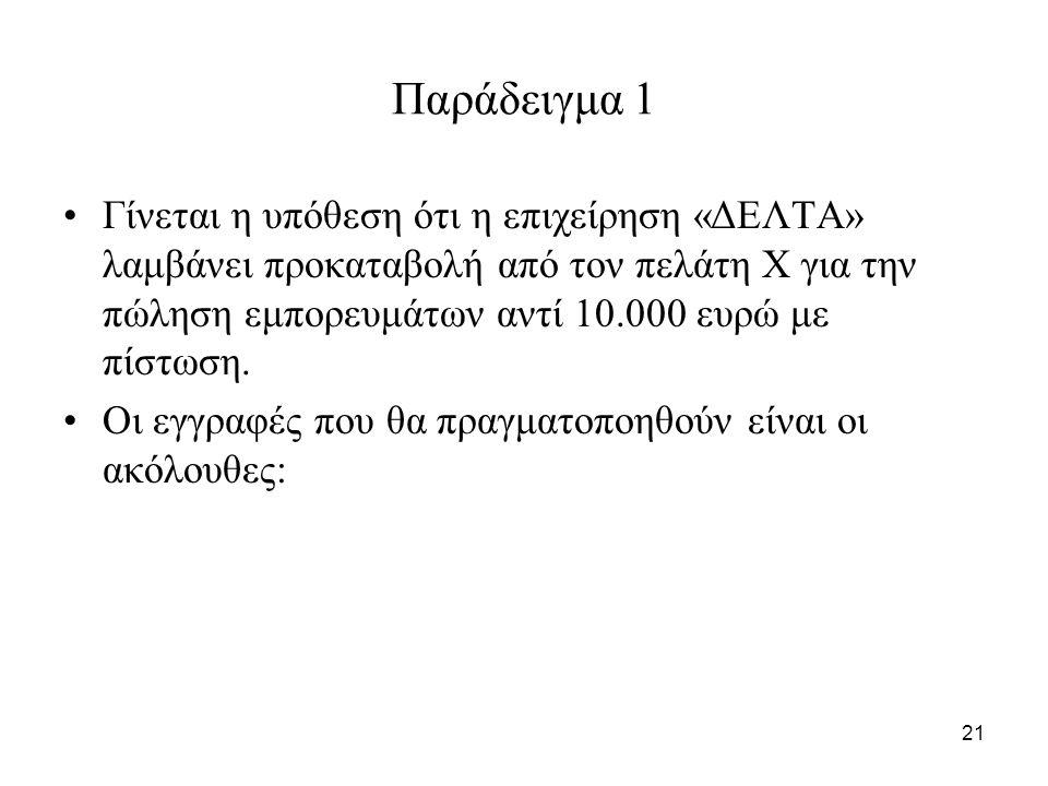 21 Παράδειγμα 1 Γίνεται η υπόθεση ότι η επιχείρηση «ΔΕΛΤΑ» λαμβάνει προκαταβολή από τον πελάτη Χ για την πώληση εμπορευμάτων αντί 10.000 ευρώ με πίστωση.