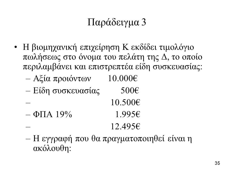 35 Παράδειγμα 3 Η βιομηχανική επιχείρηση Κ εκδίδει τιμολόγιο πωλήσεως στο όνομα του πελάτη της Δ, το οποίο περιλαμβάνει και επιστρεπτέα είδη συσκευασίας: –Αξία προιόντων 10.000€ –Είδη συσκευασίας 500€ – 10.500€ –ΦΠΑ 19% 1.995€ – 12.495€ –Η εγγραφή που θα πραγματοποιηθεί είναι η ακόλουθη: