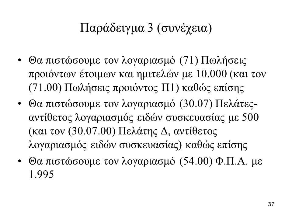 37 Παράδειγμα 3 (συνέχεια) Θα πιστώσουμε τον λογαριασμό (71) Πωλήσεις προιόντων έτοιμων και ημιτελών με 10.000 (και τον (71.00) Πωλήσεις προιόντος Π1) καθώς επίσης Θα πιστώσουμε τον λογαριασμό (30.07) Πελάτες- αντίθετος λογαριασμός ειδών συσκευασίας με 500 (και τον (30.07.00) Πελάτης Δ, αντίθετος λογαριασμός ειδών συσκευασίας) καθώς επίσης Θα πιστώσουμε τον λογαριασμό (54.00) Φ.Π.Α.