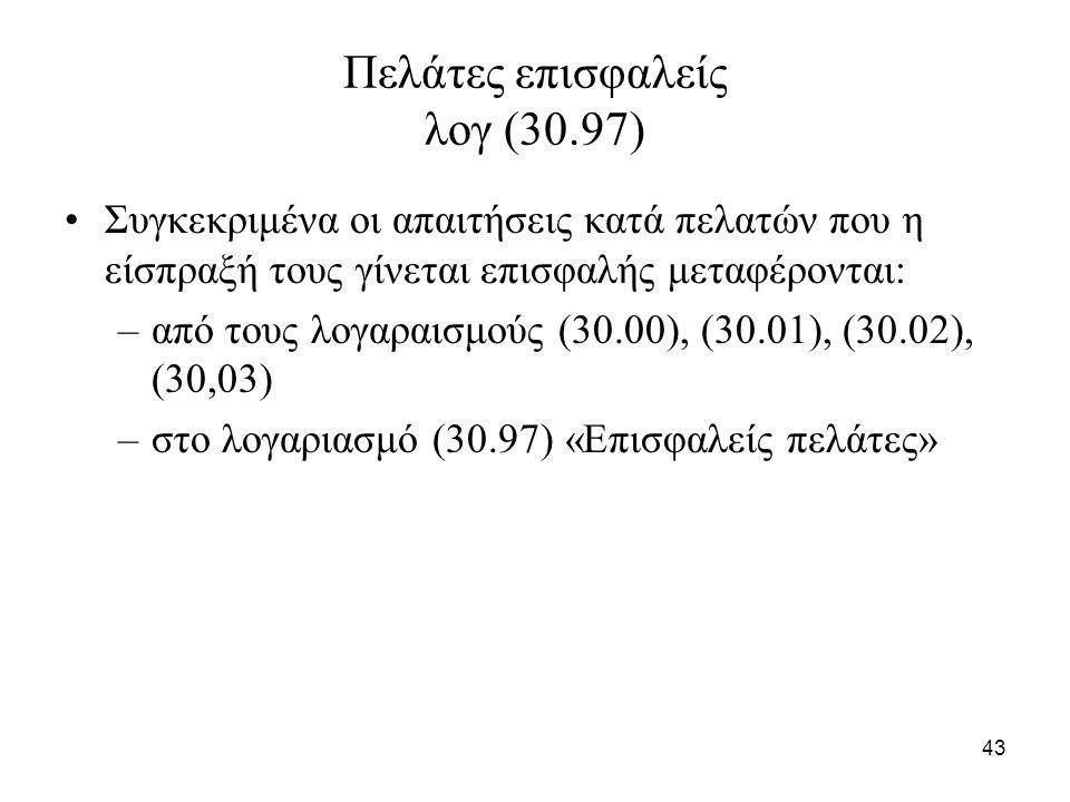 43 Πελάτες επισφαλείς λογ (30.97) Συγκεκριμένα οι απαιτήσεις κατά πελατών που η είσπραξή τους γίνεται επισφαλής μεταφέρονται: –από τους λογαραισμούς (30.00), (30.01), (30.02), (30,03) –στο λογαριασμό (30.97) «Επισφαλείς πελάτες»