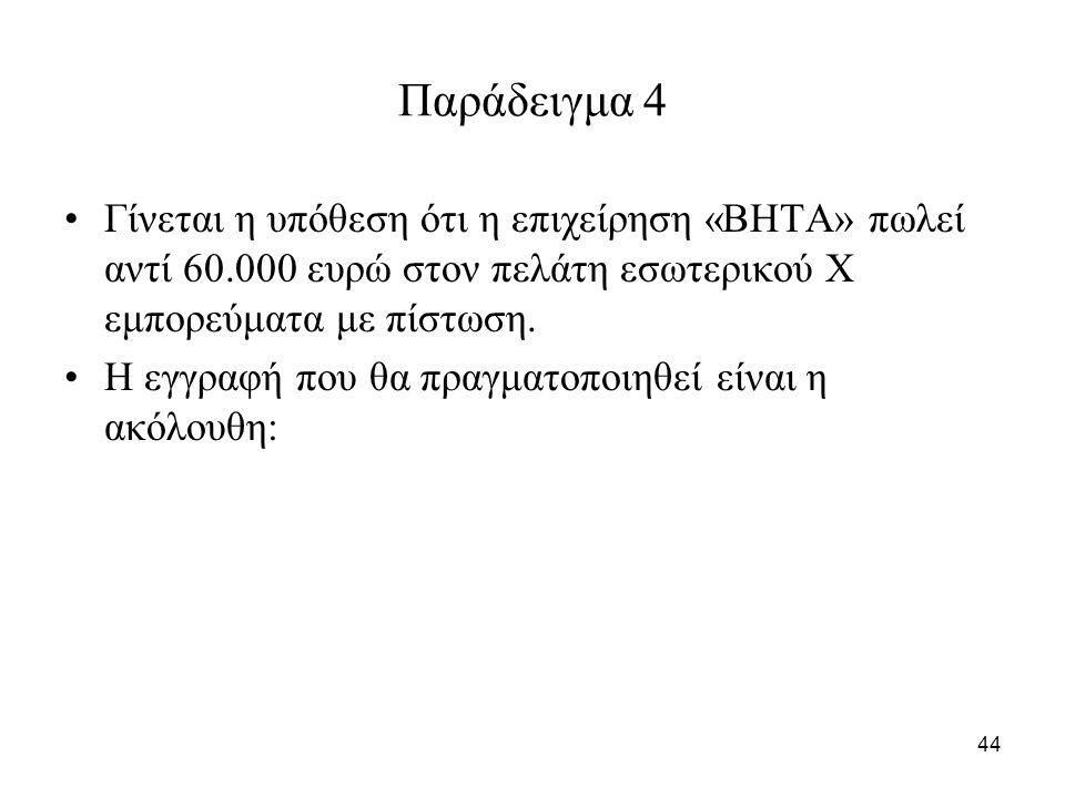 44 Παράδειγμα 4 Γίνεται η υπόθεση ότι η επιχείρηση «ΒΗΤΑ» πωλεί αντί 60.000 ευρώ στον πελάτη εσωτερικού Χ εμπορεύματα με πίστωση.