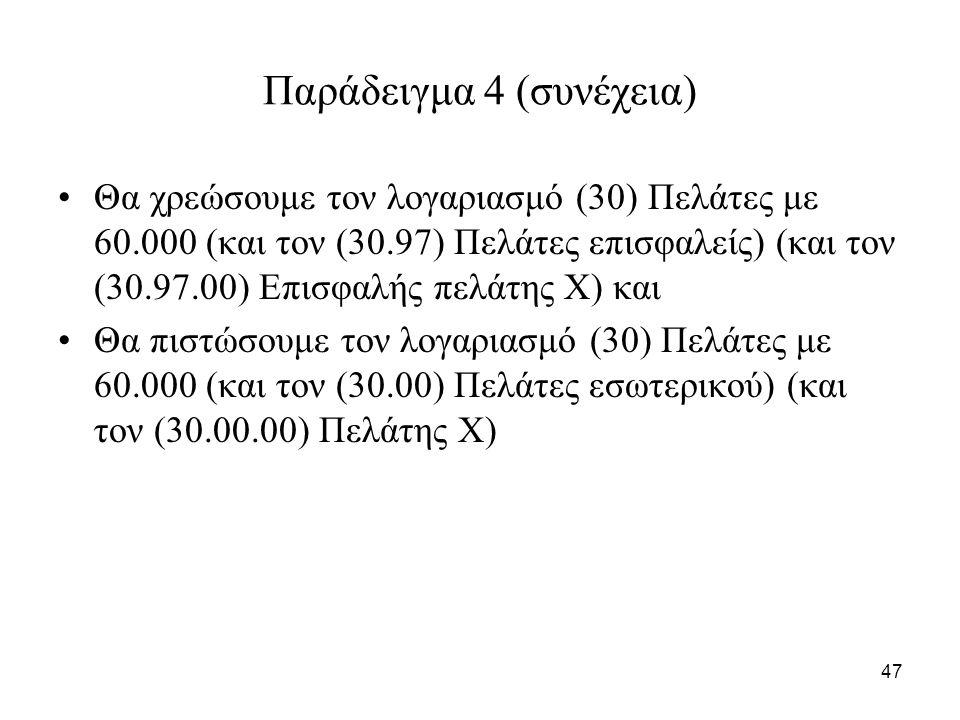 47 Παράδειγμα 4 (συνέχεια) Θα χρεώσουμε τον λογαριασμό (30) Πελάτες με 60.000 (και τον (30.97) Πελάτες επισφαλείς) (και τον (30.97.00) Επισφαλής πελάτης Χ) και Θα πιστώσουμε τον λογαριασμό (30) Πελάτες με 60.000 (και τον (30.00) Πελάτες εσωτερικού) (και τον (30.00.00) Πελάτης Χ)