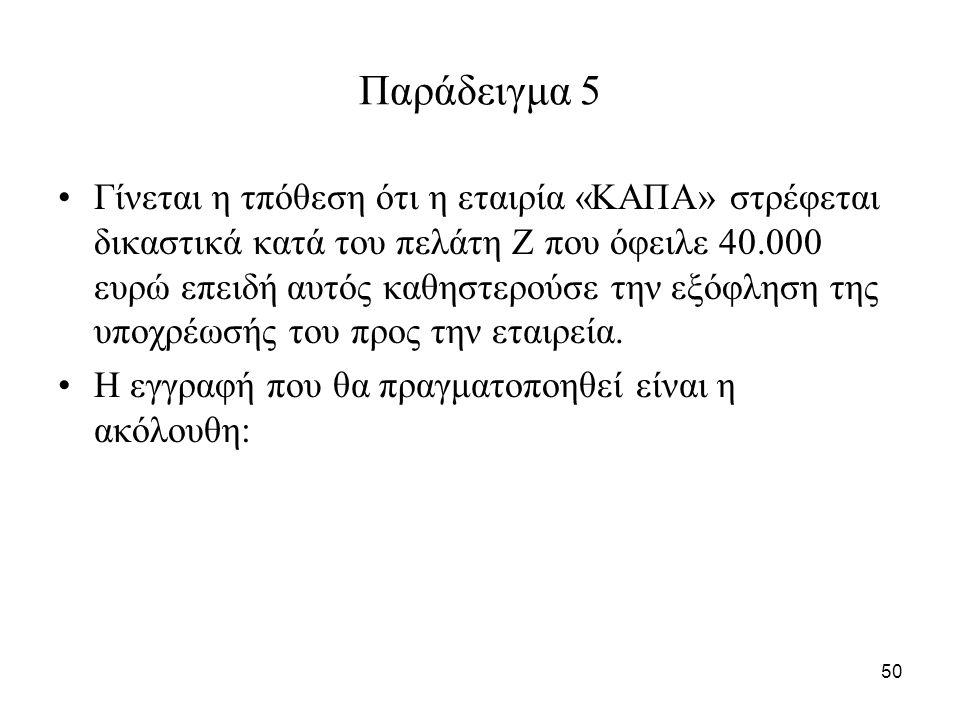 50 Παράδειγμα 5 Γίνεται η τπόθεση ότι η εταιρία «ΚΑΠΑ» στρέφεται δικαστικά κατά του πελάτη Ζ που όφειλε 40.000 ευρώ επειδή αυτός καθηστερούσε την εξόφληση της υποχρέωσής του προς την εταιρεία.
