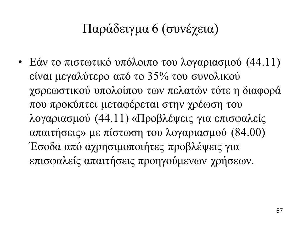 57 Παράδειγμα 6 (συνέχεια) Εάν το πιστωτικό υπόλοιπο του λογαριασμού (44.11) είναι μεγαλύτερο από το 35% του συνολικού χσρεωστικού υπολοίπου των πελατών τότε η διαφορά που προκύπτει μεταφέρεται στην χρέωση του λογαριασμού (44.11) «Προβλέψεις για επισφαλείς απαιτήσεις» με πίστωση του λογαριασμού (84.00) Έσοδα από αχρησιμοποιήτες προβλέψεις για επισφαλείς απαιτήσεις προηγούμενων χρήσεων.