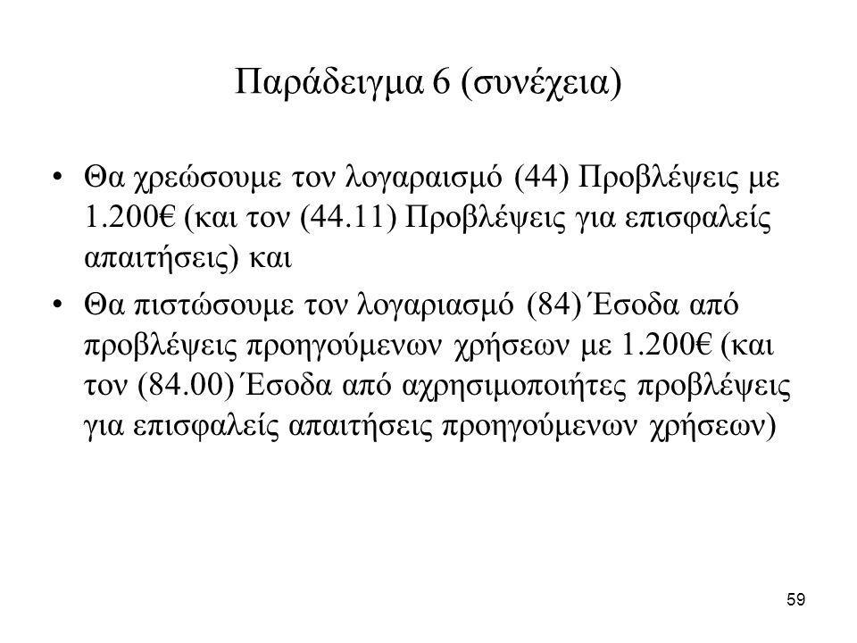 59 Παράδειγμα 6 (συνέχεια) Θα χρεώσουμε τον λογαραισμό (44) Προβλέψεις με 1.200€ (και τον (44.11) Προβλέψεις για επισφαλείς απαιτήσεις) και Θα πιστώσουμε τον λογαριασμό (84) Έσοδα από προβλέψεις προηγούμενων χρήσεων με 1.200€ (και τον (84.00) Έσοδα από αχρησιμοποιήτες προβλέψεις για επισφαλείς απαιτήσεις προηγούμενων χρήσεων)