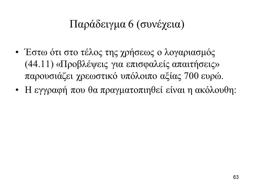 63 Παράδειγμα 6 (συνέχεια) Έστω ότι στο τέλος της χρήσεως ο λογαριασμός (44.11) «Προβλέψεις για επισφαλείς απαιτήσεις» παρουσιάζει χρεωστικό υπόλοιπο αξίας 700 ευρώ.