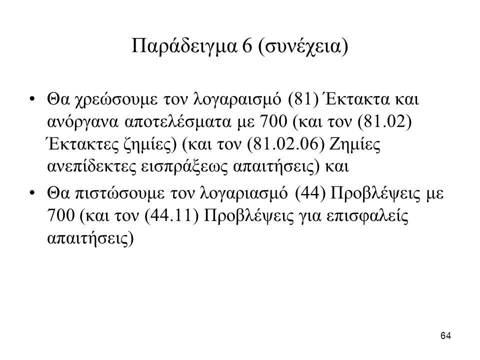64 Παράδειγμα 6 (συνέχεια) Θα χρεώσουμε τον λογαραισμό (81) Έκτακτα και ανόργανα αποτελέσματα με 700 (και τον (81.02) Έκτακτες ζημίες) (και τον (81.02.06) Ζημίες ανεπίδεκτες εισπράξεως απαιτήσεις) και Θα πιστώσουμε τον λογαριασμό (44) Προβλέψεις με 700 (και τον (44.11) Προβλέψεις για επισφαλείς απαιτήσεις)