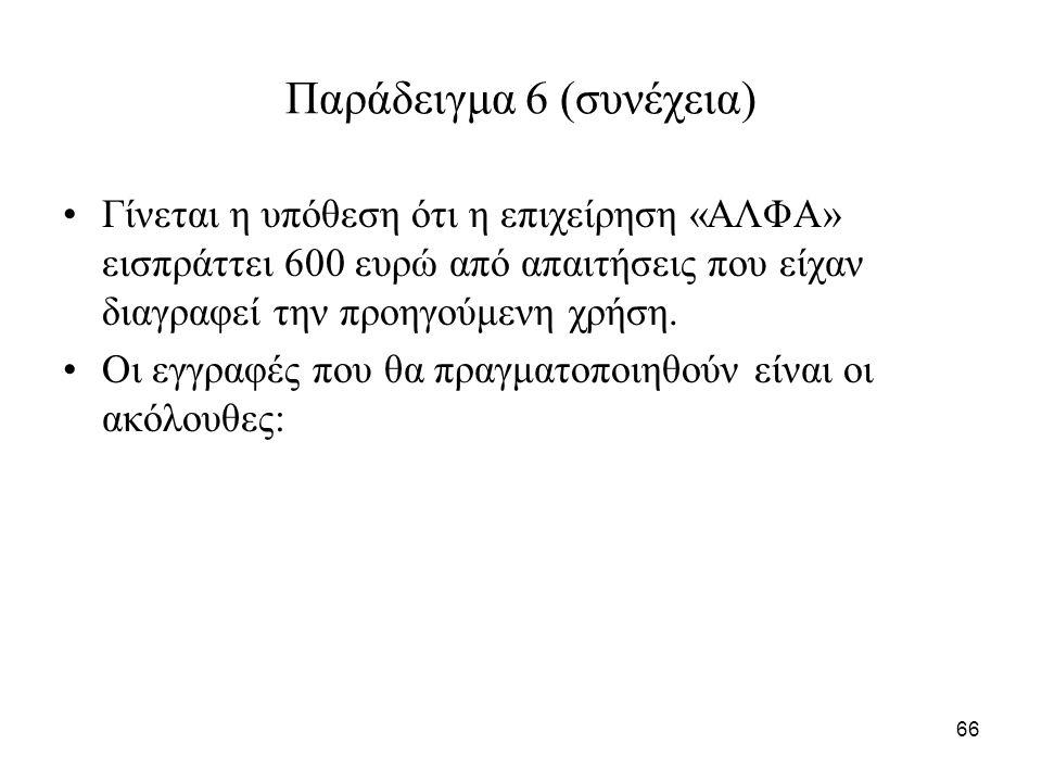 66 Παράδειγμα 6 (συνέχεια) Γίνεται η υπόθεση ότι η επιχείρηση «ΑΛΦΑ» εισπράττει 600 ευρώ από απαιτήσεις που είχαν διαγραφεί την προηγούμενη χρήση.