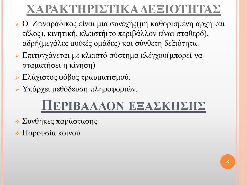 ΧΑΡΑΚΤΗΡΙΣΤΙΚΑ ΔΕΞΙΟΤΗΤΑΣ  Ο Ζωναράδικος είναι μια συνεχής(μη καθορισμένη αρχή και τέλος), κινητική, κλειστή(το περιβάλλον είναι σταθερό), αδρή(μεγάλ
