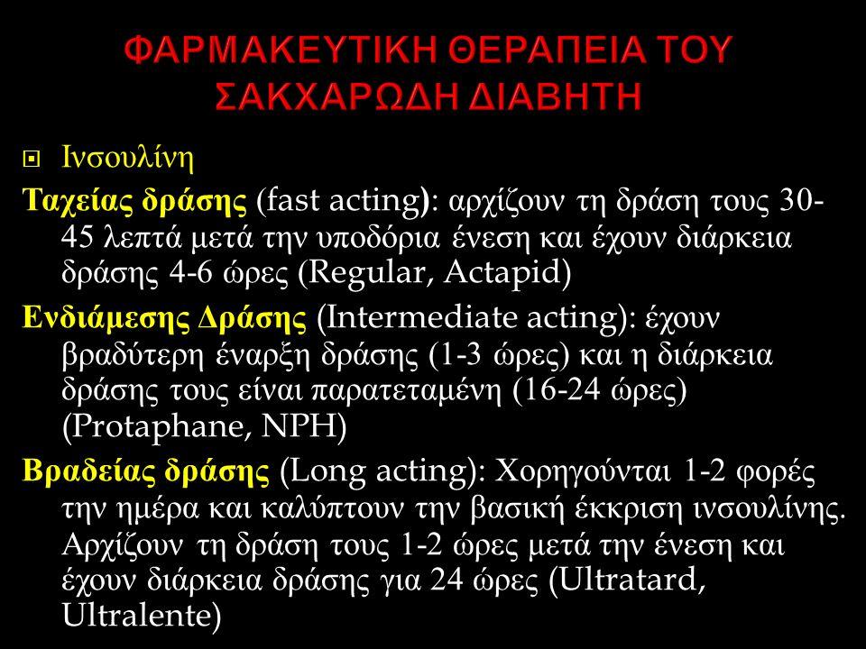  Ινσουλίνη Ταχείας δράσης (fast acting ) : αρχίζουν τη δράση τους 30- 45 λεπτά μετά την υποδόρια ένεση και έχουν διάρκεια δράσης 4-6 ώρες (Regular, Actapid) Ενδιάμεσης Δράσης (Intermediate acting): έχουν βραδύτερη έναρξη δράσης (1-3 ώρες ) και η διάρκεια δράσης τους είναι παρατεταμένη (16-24 ώρες ) (Protaphane, NPH) Βραδείας δράσης (Long acting): Χορηγούνται 1-2 φορές την ημέρα και καλύπτουν την βασική έκκριση ινσουλίνης.