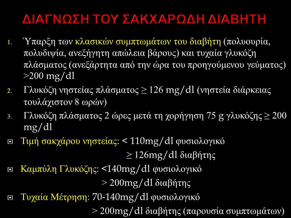 1. Ύπαρξη των κλασικών συμπτωμάτων του διαβήτη ( πολυουρία, πολυδιψία, ανεξήγητη απώλεια βάρους ) και τυχαία γλυκόζη πλάσματος ( ανεξάρτητα από την ώρ