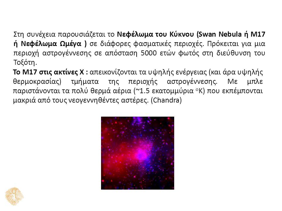 Στη συνέχεια παρουσιάζεται το Νεφέλωμα του Κύκνου (Swan Nebula ή M17 ή Νεφέλωμα Ωμέγα ) σε διάφορες φασματικές περιοχές. Πρόκειται για μια περιοχή αστ