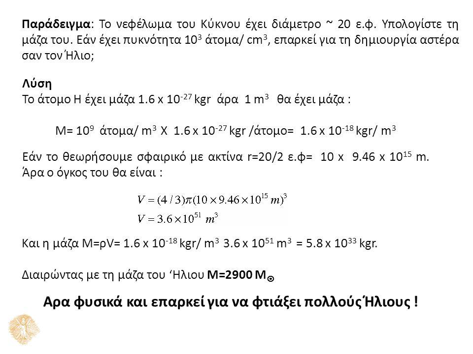 Παράδειγμα: To νεφέλωμα του Κύκνου έχει διάμετρο ~ 20 ε.φ. Υπολογίστε τη μάζα του. Εάν έχει πυκνότητα 10 3 άτομα/ cm 3, επαρκεί για τη δημιουργία αστέ