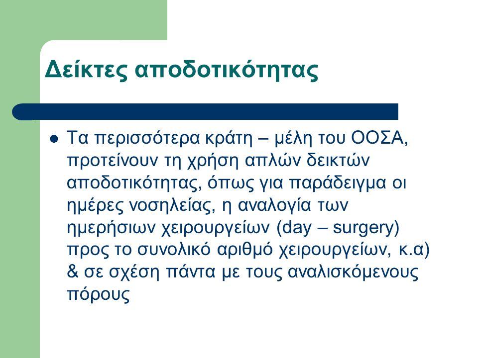 Τα περισσότερα κράτη – μέλη του ΟΟΣΑ, προτείνουν τη χρήση απλών δεικτών αποδοτικότητας, όπως για παράδειγμα οι ημέρες νοσηλείας, η αναλογία των ημερήσ