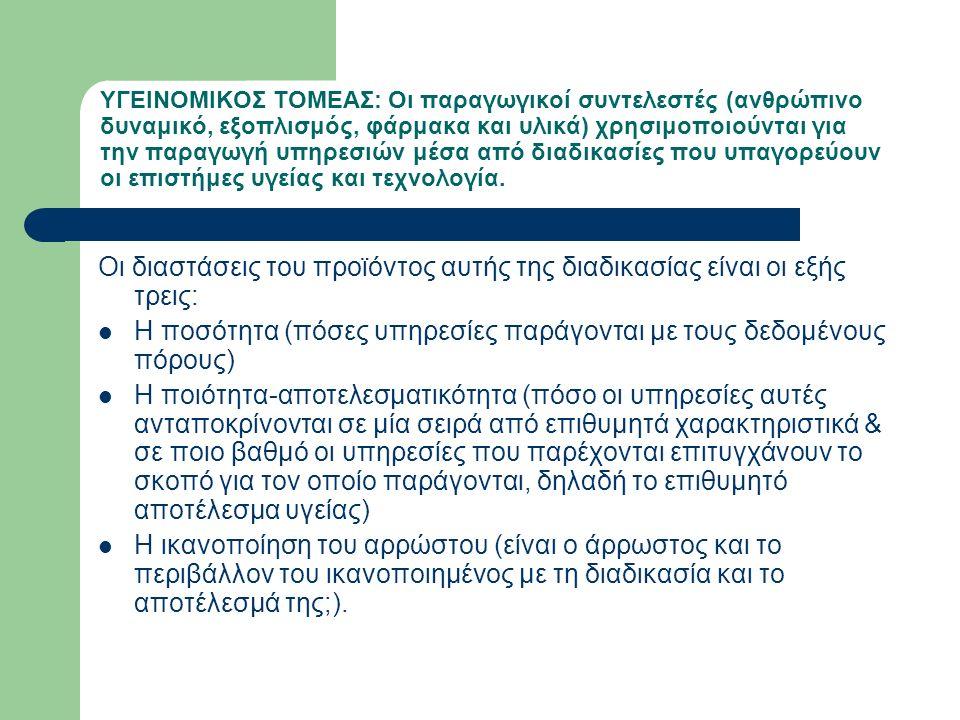 ΥΓΕΙΝΟΜΙΚΟΣ ΤΟΜΕΑΣ: Οι παραγωγικοί συντελεστές (ανθρώπινο δυναμικό, εξοπλισμός, φάρμακα και υλικά) χρησιμοποιούνται για την παραγωγή υπηρεσιών μέσα απ