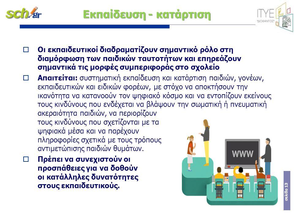 σελίδα 13 Εκπαίδευση - κατάρτιση  Oι εκπαιδευτικοί διαδραµατίζουν σηµαντικό ρόλο στη διαµόρφωση των παιδικών ταυτοτήτων και επηρεάζουν σηµαντικά τις