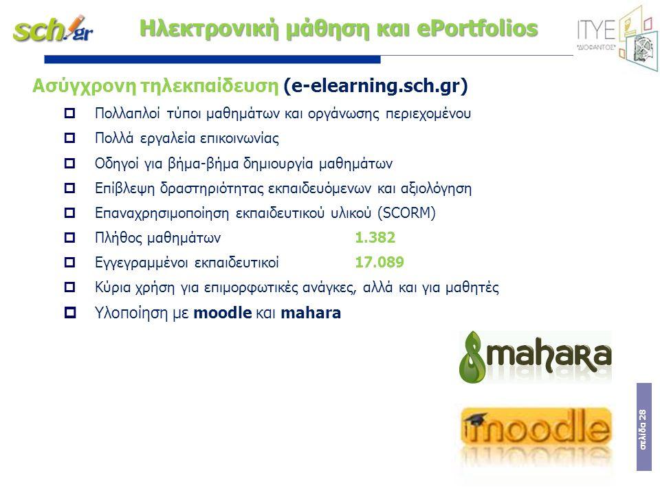 σελίδα 28 Ασύγχρονη τηλεκπαίδευση (e-elearning.sch.gr)  Πολλαπλοί τύποι μαθημάτων και οργάνωσης περιεχομένου  Πολλά εργαλεία επικοινωνίας  Οδηγοί γ
