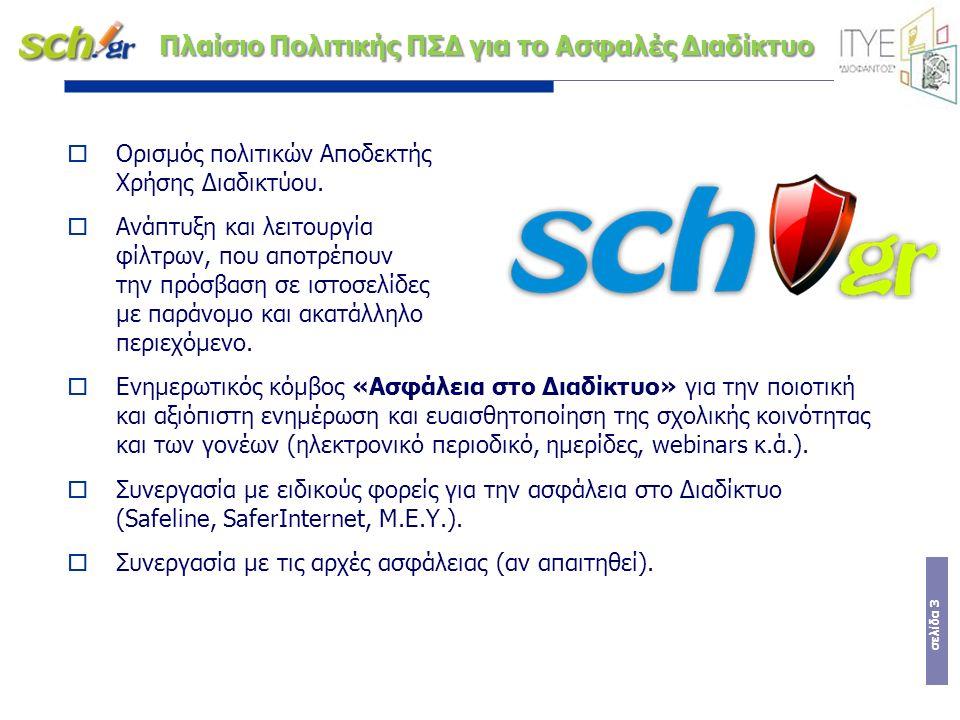 σελίδα 3 Πλαίσιο Πολιτικής ΠΣΔ για το Ασφαλές Διαδίκτυο  Ορισμός πολιτικών Αποδεκτής Χρήσης Διαδικτύου.  Ανάπτυξη και λειτουργία φίλτρων, που αποτρέ