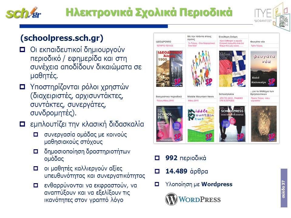 σελίδα 37 Ηλεκτρονικά Σχολικά Περιοδικά (schoolpress.sch.gr)  Οι εκπαιδευτικοί δημιουργούν περιοδικό / εφημερίδα και στη συνέχεια αποδίδουν δικαιώματ