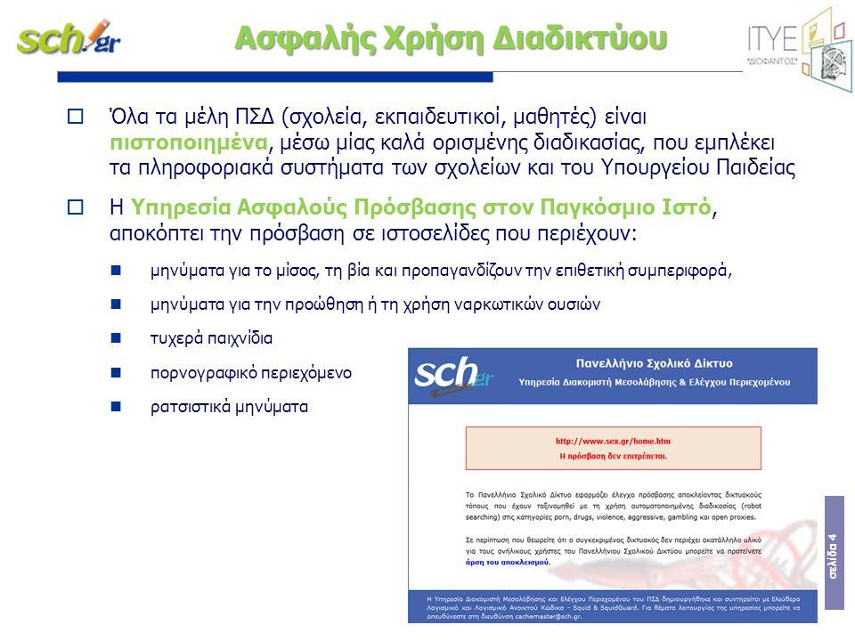 σελίδα 4  Όλα τα μέλη ΠΣΔ (σχολεία, εκπαιδευτικοί, μαθητές) είναι πιστοποιημένα, μέσω μίας καλά ορισμένης διαδικασίας, που εμπλέκει τα πληροφοριακά σ