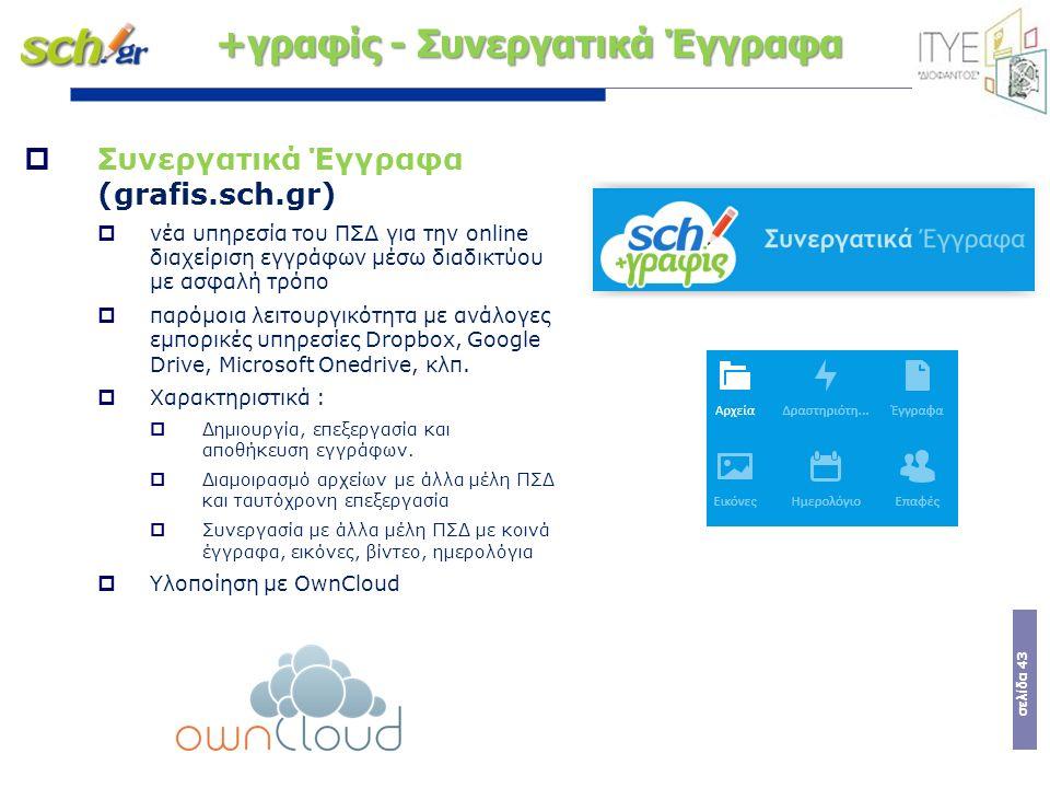 σελίδα 43  Συνεργατικά Έγγραφα (grafis.sch.gr)  νέα υπηρεσία του ΠΣΔ για την online διαχείριση εγγράφων μέσω διαδικτύου με ασφαλή τρόπο  παρόμοια λ