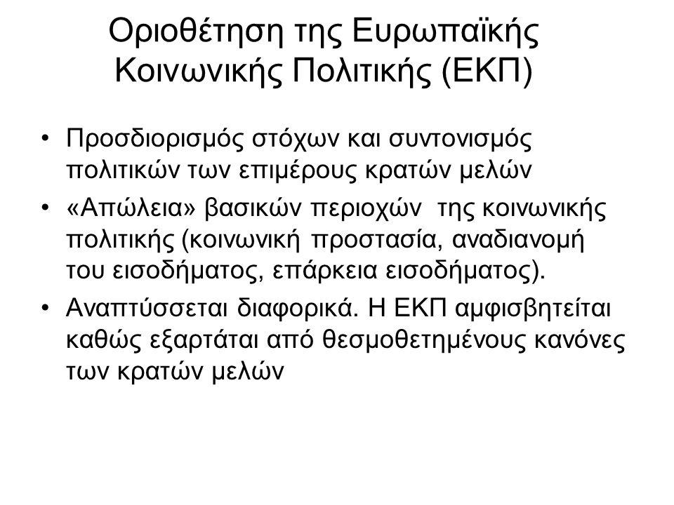 Οριοθέτηση της Ευρωπαϊκής Κοινωνικής Πολιτικής (ΕΚΠ) Προσδιορισμός στόχων και συντονισμός πολιτικών των επιμέρους κρατών μελών «Απώλεια» βασικών περιοχών της κοινωνικής πολιτικής (κοινωνική προστασία, αναδιανομή του εισοδήματος, επάρκεια εισοδήματος).