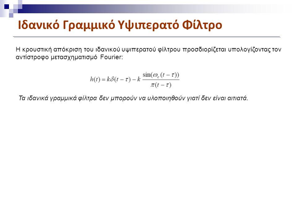 Ιδανικό Γραμμικό Υψιπερατό Φίλτρο Η κρουστική απόκριση του ιδανικού υψιπερατού φίλτρου προσδιορίζεται υπολογίζοντας τον αντίστροφο μετασχηματισμό Fourier: Τα ιδανικά γραμμικά φίλτρα δεν μπορούν να υλοποιηθούν γιατί δεν είναι αιτιατά.