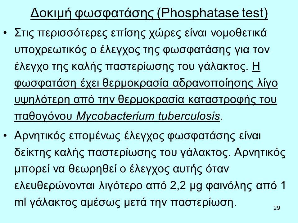 29 Δοκιμή φωσφατάσης (Phosphatase test) Στις περισσότερες επίσης χώρες είναι νομοθετικά υποχρεωτικός ο έλεγχος της φωσφατάσης για τον έλεγχο της καλής