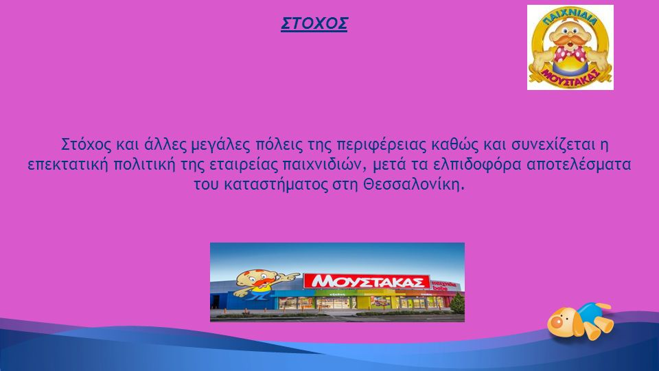 Στόχος και άλλες μεγάλες πόλεις της περιφέρειας καθώς και συνεχίζεται η επεκτατική πολιτική της εταιρείας παιχνιδιών, μετά τα ελπιδοφόρα αποτελέσματα του καταστήματος στη Θεσσαλονίκη.