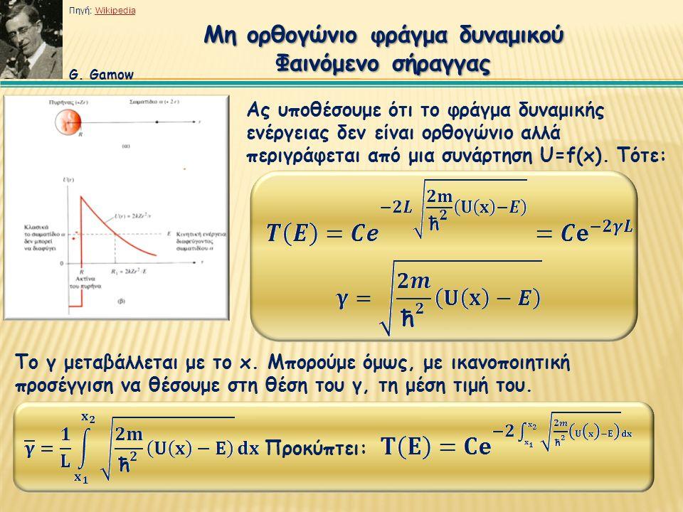 G. Gamow Μη ορθογώνιο φράγμα δυναμικού Φαινόμενο σήραγγας Ας υποθέσουμε ότι το φράγμα δυναμικής ενέργειας δεν είναι ορθογώνιο αλλά περιγράφεται από μι