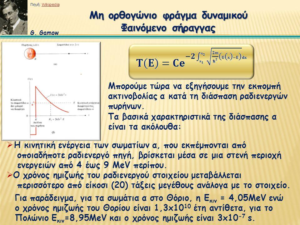 Μη ορθογώνιο φράγμα δυναμικού Φαινόμενο σήραγγας Μπορούμε τώρα να εξηγήσουμε την εκπομπή ακτινοβολίας α κατά τη διάσπαση ραδιενεργών πυρήνων.