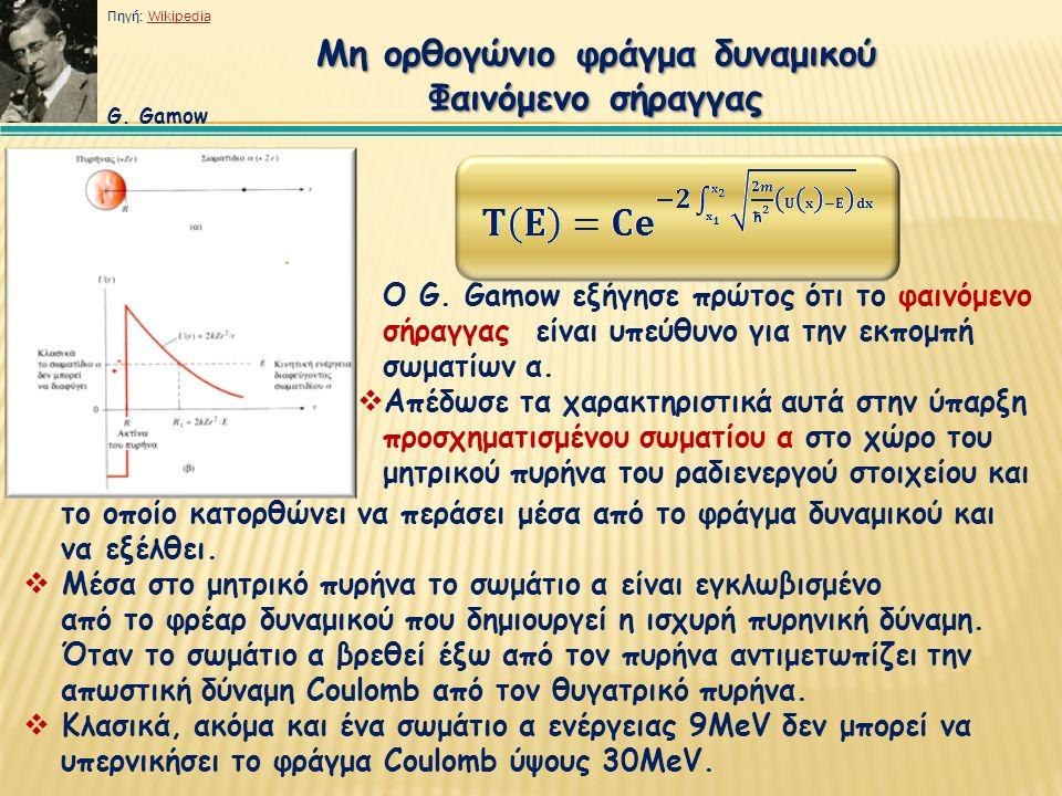 Μη ορθογώνιο φράγμα δυναμικού Φαινόμενο σήραγγας Ο G. Gamow εξήγησε πρώτος ότι το φαινόμενο σήραγγας είναι υπεύθυνο για την εκπομπή σωματίων α.  Απέδ
