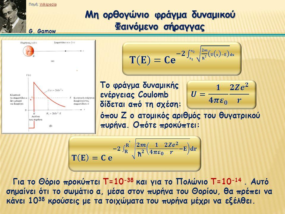 Μη ορθογώνιο φράγμα δυναμικού Φαινόμενο σήραγγας Το φράγμα δυναμικής ενέργειας Coulomb δίδεται από τη σχέση: όπου Ζ ο ατομικός αριθμός του θυγατρικού