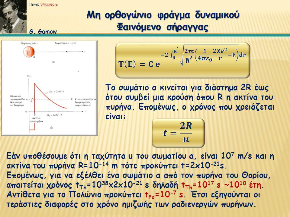 Μη ορθογώνιο φράγμα δυναμικού Φαινόμενο σήραγγας Το σωμάτιο α κινείται για διάστημα 2R έως ότου συμβεί μια κρούση όπου R η ακτίνα του πυρήνα. Επομένως